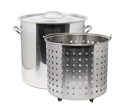 Ballington 13 Gal 16u0026quot; Stainless Steel Stock Pot W Deep Steamer/Boil  Basket