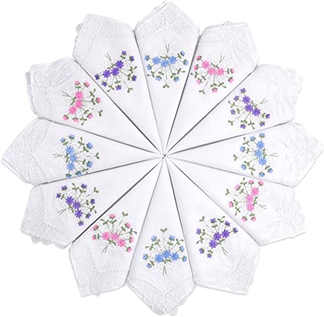 12pcs Womens Ladies Embroidered Lace Hankies Butterfly Hankerchiefs