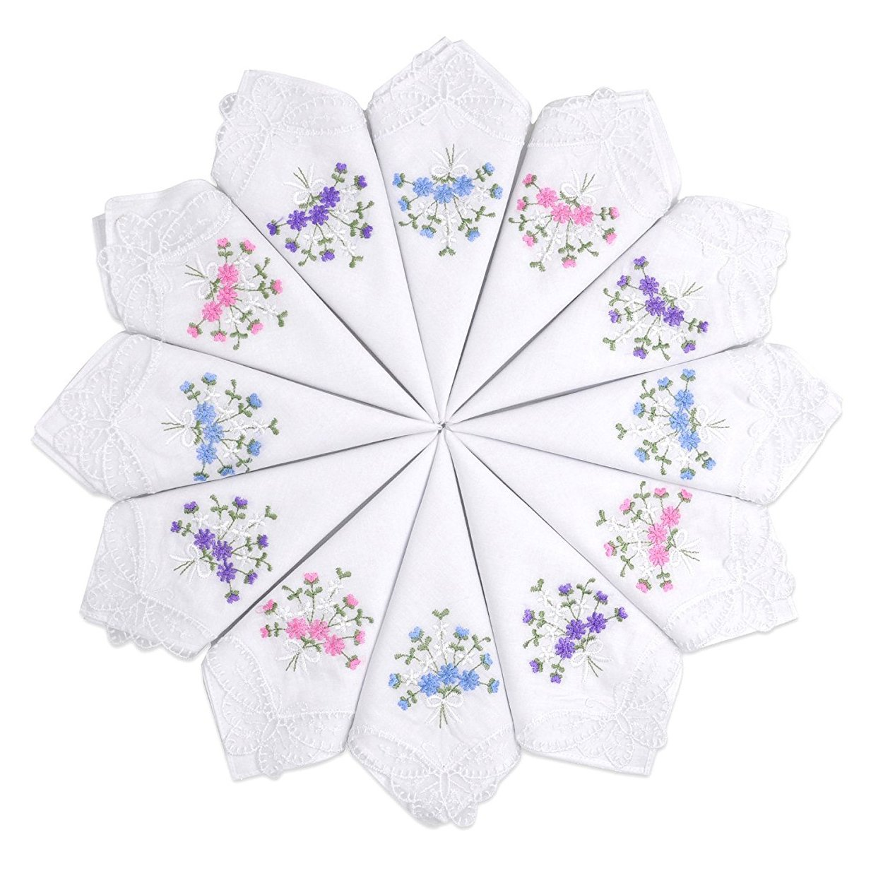 Selected Hanky Ladies/Women's Cotton Handkerchief Flower Embroidered with Lace 12 Pack - Assorted
