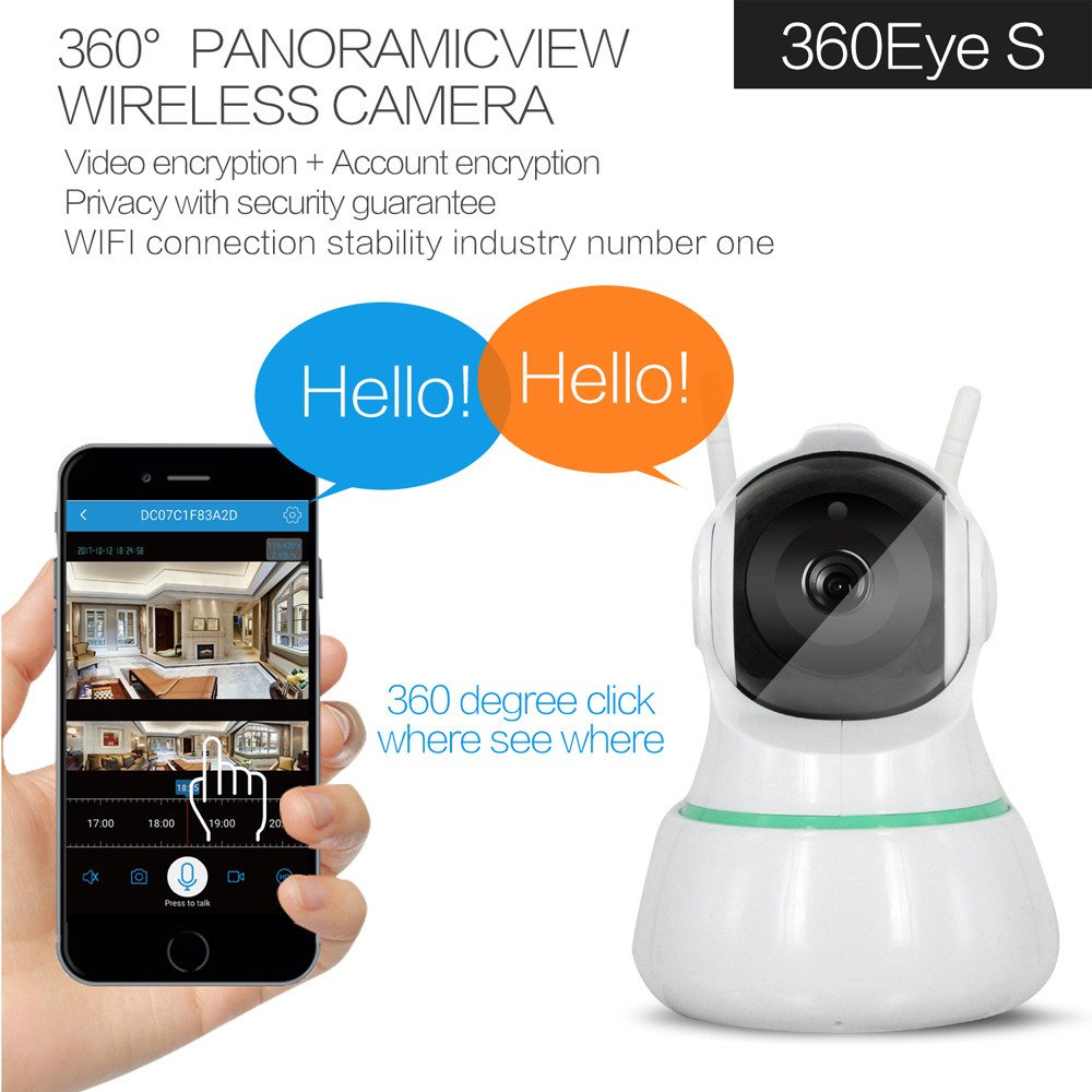 Video Camera, Sacow 360° Panoramic View Wireless Camera Wireless Wifi IP Security Camera 1080P Indoor Home Surveillance System Monitor