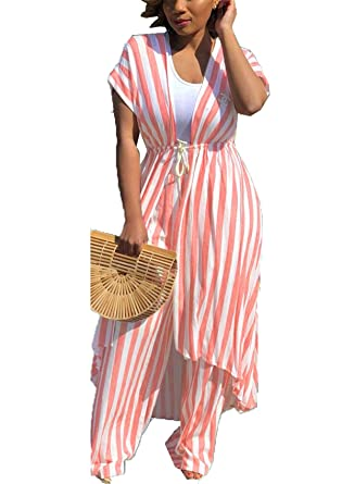 f10bf17b27e Womens Casual 2pcs Suit Classic Stripes Long Coat Cover up Dress + Long Pant  Set at Amazon Women s Clothing store