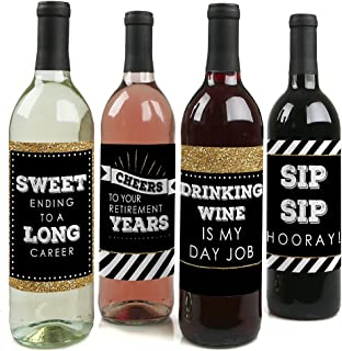 product image for Happy Retirement - Retirement Party Decorations for Women and Men - Wine Bottle Label Stickers - Set of 4