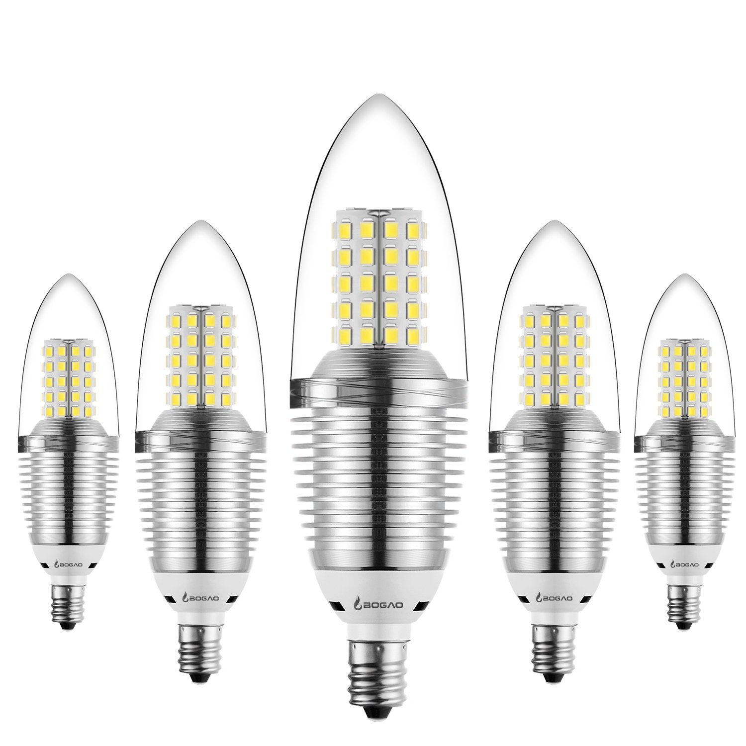 bogao 5 pack led candelabra bulb 12w daylight led candle bulbs watt light bulbs equivalent e12 candelabra base lumens led lights