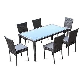 Salon de Jardin 6 Places - Bergamo - Coloris Gris, Coussins Gris chiné,  Table extérieure avec 6 chaises