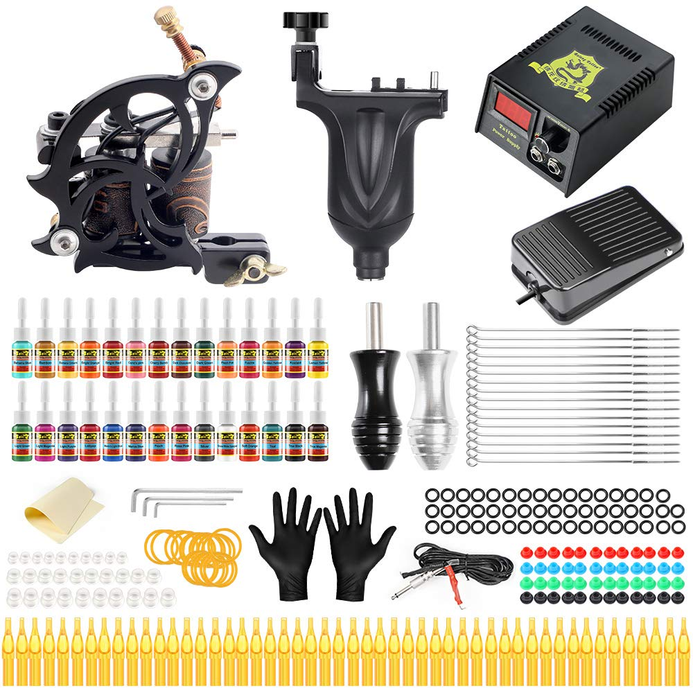 Solong Complete Tattoo Kit 2 Pro Tattoo Machine Gun with 28 Inks Power Supply for Tattoo Artrist Beginner TMK647C-1 by Solong Tattoo