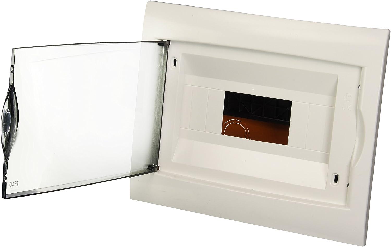 Blanc 8 Modules Electraline 60440 Coffret Encastrable avec Porte Jaune