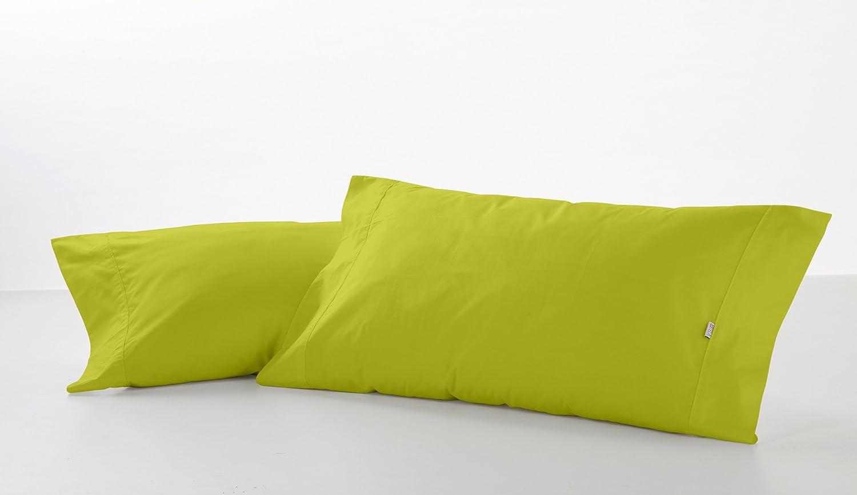 ESTELA - Funda de Almohada Combi Liso Color Pistacho - 2 Piezas de 45x85 cm - 50% Algodón-50% Poliéster - 144 Hilos