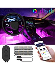 Car LED Strip Lights by APP Control, Govee 48 LED Car Interior Lights Music Sound-activated Multi-colour Under Dash Lighting Kit, Car Charger Included
