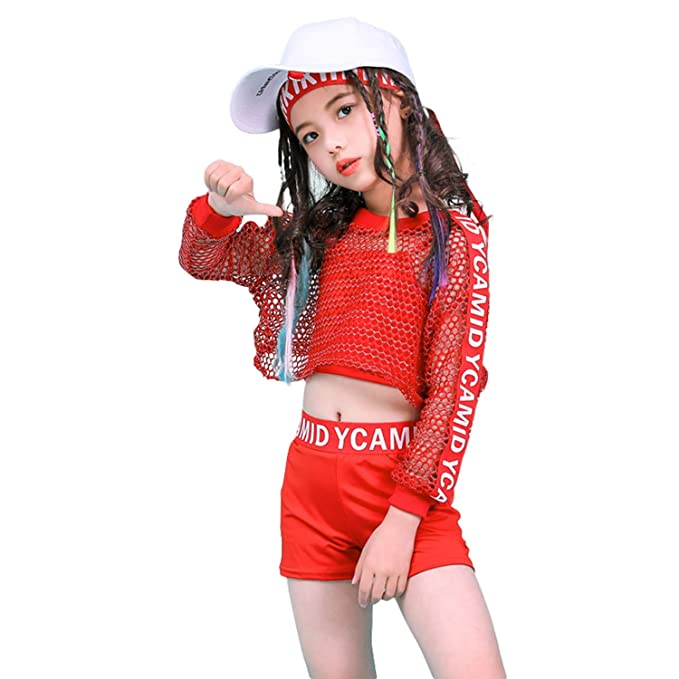 01992e4a7 Amazon.com: Girls Hip Hop Dance Clothes Jazz Modern Dance Outfits Costume  Stage Dancewear: Clothing