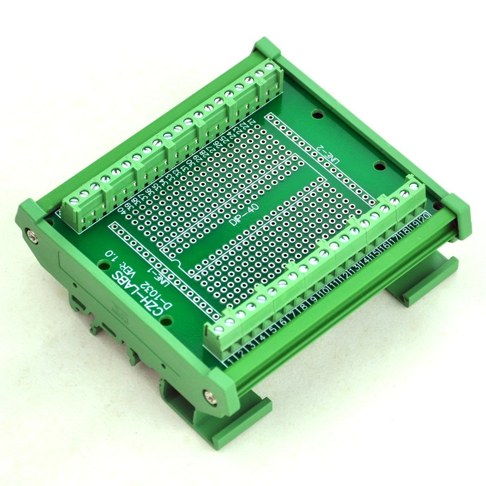 Electronics-Salon DIP-40 Component to Screw Terminal Adapter Board, w/HQ DIN Rail Mount Carrier.
