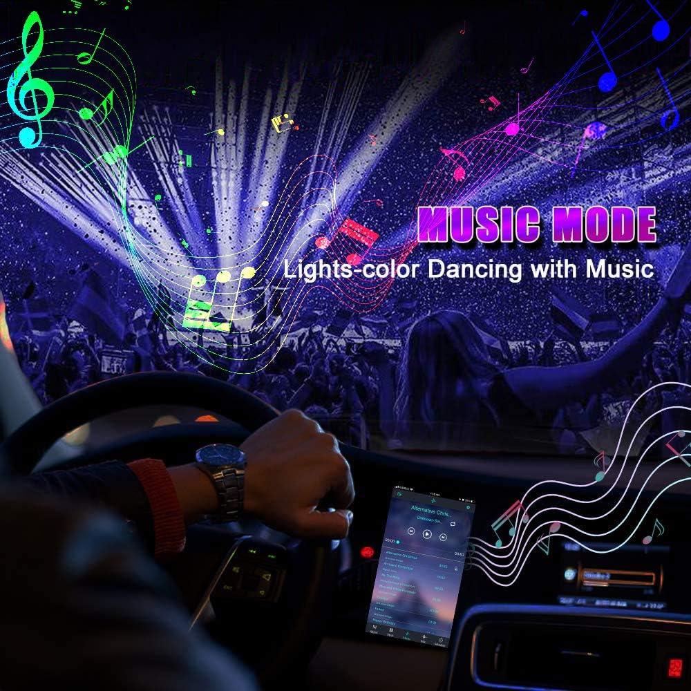 Lampe Voiture Int/érieur avec APP et T/él/écommande Sans Fil /Éclairage LED Voiture Int/érieur 48 LED Lumi/ères de Bande Int/érieur Auto 4 Modes de Musique Clignotant avec Un Rythme Sonore Musical