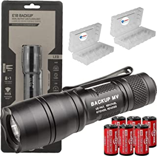 product image for SureFire E1B-MV Backup 400 Lumen Tactical EDC Flashlight Bundle with 6 Extra Surefire CR123A Batteries and 2 Lightjunction Battery Cases