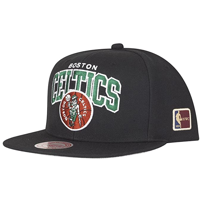 huge discount 989c8 31ef6 Image Unavailable. Image not available for. Color  Mitchell   Ness Boston  Celtics HUD127 Black Team Arch Snapback Cap HWC NBA