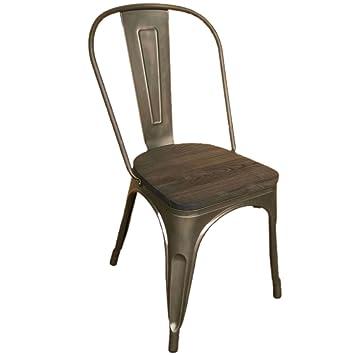 Inconnu - Dos sillas Tolix de metal, con asiento teñido en color ...