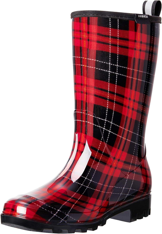 HISEA Women's Rain Boots Waterproof Rubber Rain Shoes for Ladies Mid Calf Garden Boots with Comfort Insole