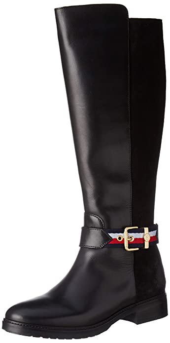 newest 28025 2055e Tommy Hilfiger Damen Corporate Belt Long Boot Hohe Stiefel