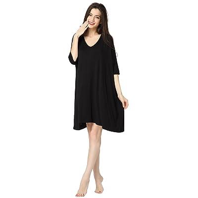 Aibrou Women's V-Neck Short Sleeve T-Shirt Dress Loose Nightshirt Sleepwear