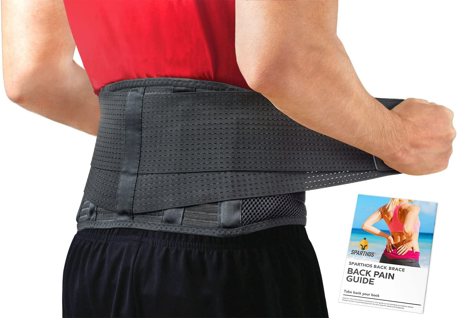 Back Brace by Sparthos - Immediate Relief for Back Pain, Herniated Disc, Sciatica, Scoliosis and more! – Breathable Mesh Design with Lumbar Pad – Adjustable Support Straps – Lower Back Belt [Size Med]: Health & Personal Care