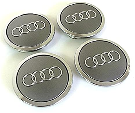 Set of Four Audi Alloy Wheels Centre Hub Caps Grey Covers Badge 69 mm 8t0 601 ...