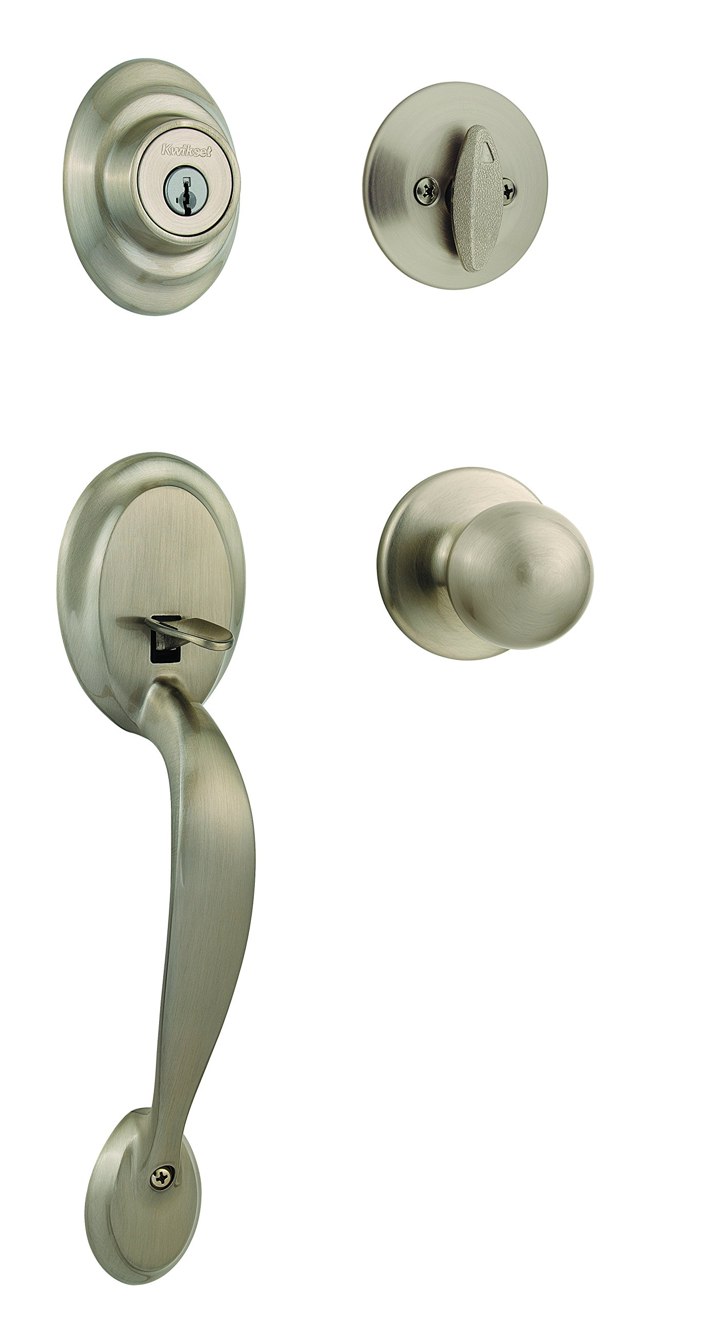 Kwikset Dakota Single Cylinder Handleset with Polo Knob featuring SmartKey in Satin Nickel
