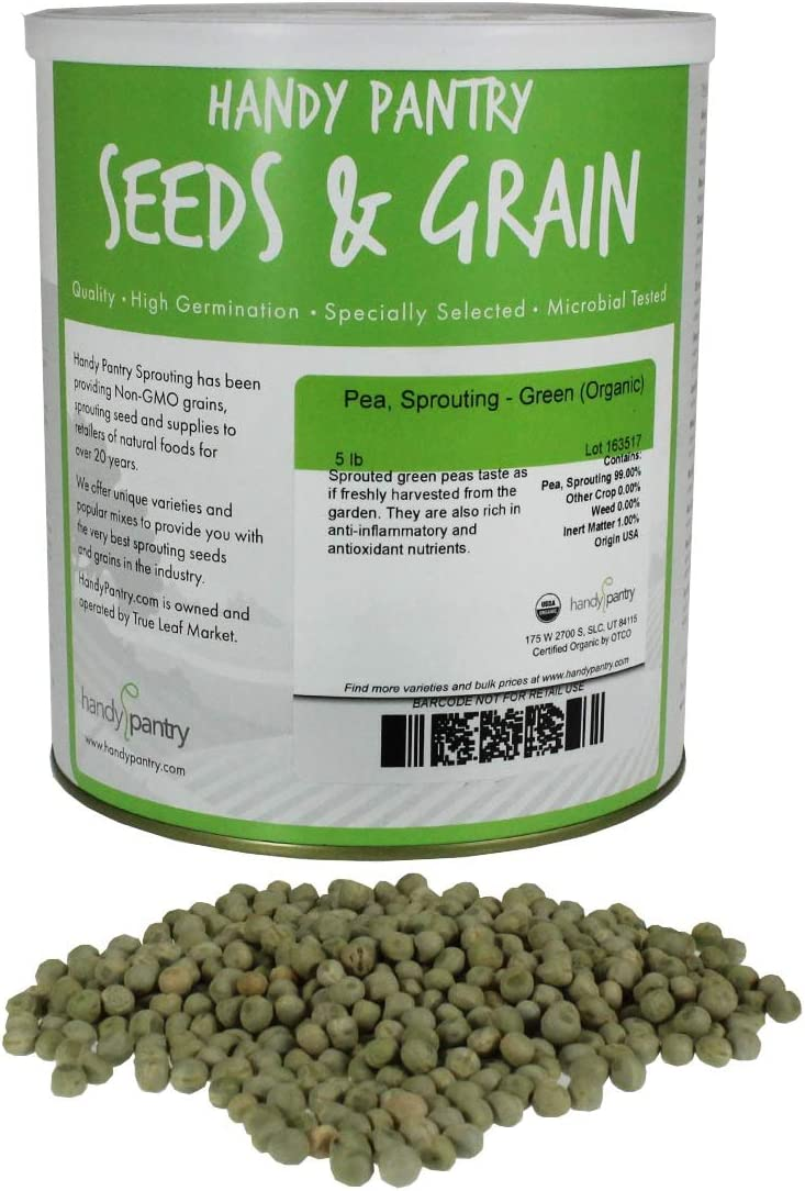 Handy Pantry Certified Organic Dried Green Pea Sprouting Seed - 5 Lb Brand - Green Pea for Sprouts, Garden Planting, Cooking, Soup, Emergency Food Storage, Vegetable Gardening