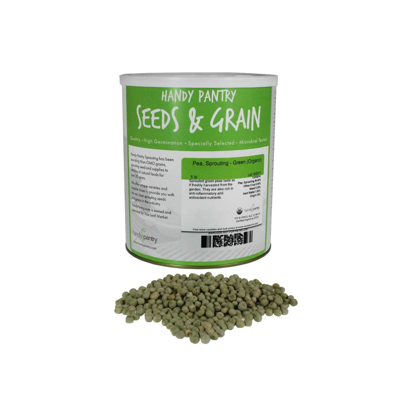Certified Organic Dried Green Pea Sprouting Seed - 5 Lb - Handy Pantry Brand - Green Pea for Sprouts, Garden Planting, Cooking, Soup, Emergency Food Storage, Vegetable Gardening by Handy Pantry