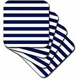 3dRose LLC Navy Blue and White Stripes Coaster, Soft, Set of 4
