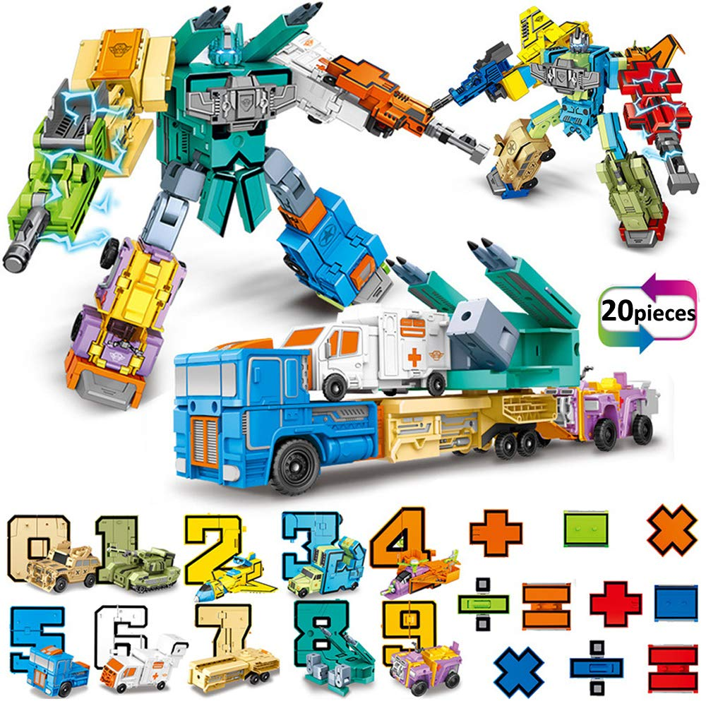 Siiziitoo 20 Pieces Number Robot Transformer Action Figure Autobots Toys for Montessori Teaching, School Classroom Rewards, Carnival Prizes, Pre-School Education Toy