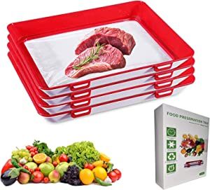 LEEJOY 4 Pack Food Preservation Tray,Reusable And Stackable Food Storage Container With Vacuum Sealing Function,Creative Food Preservation Tray (red)