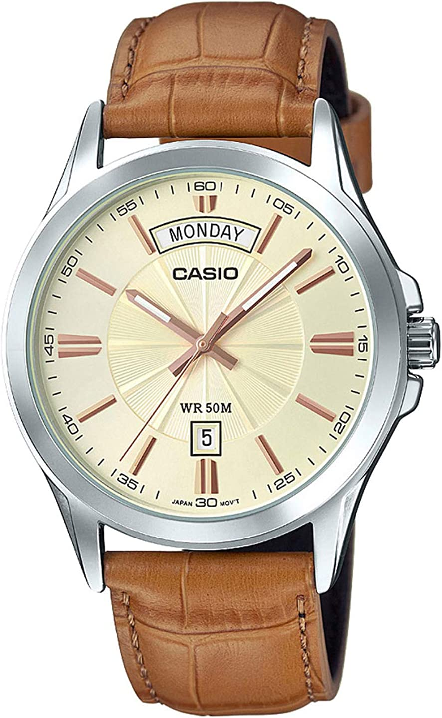 Casio MTP1381L-9AV Men s Classic Leather Band 50M Day Date Gold Dial Watch