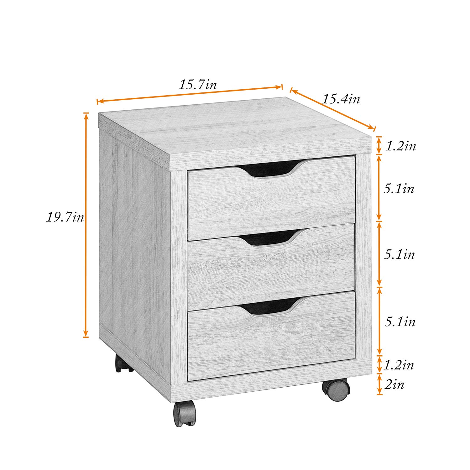 DlandHome Storage Cabinet, Vertical Lateral File Cabinet W/ 3 Drawers & Wheels, Wooden Bedroom Side Organizer for Home Office, LHGZ204-M Maple, 1 Pack by DlandHome (Image #4)
