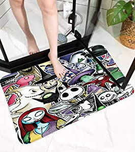 Nightmare Before Christmas Jack Skellington Halloween Coral Velvet Bath Rugs Non Slip Bath Mat Bathroom Rug Decor Sets with Rubber Backing Absorbent Carpet 17 x 24 inches