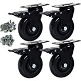 """Copsrew 3"""" PVC Heavy Duty 1000lbs Swivel Rubber Caster Wheels with Safety Dual Locking Casters Set of 4 with Brake"""
