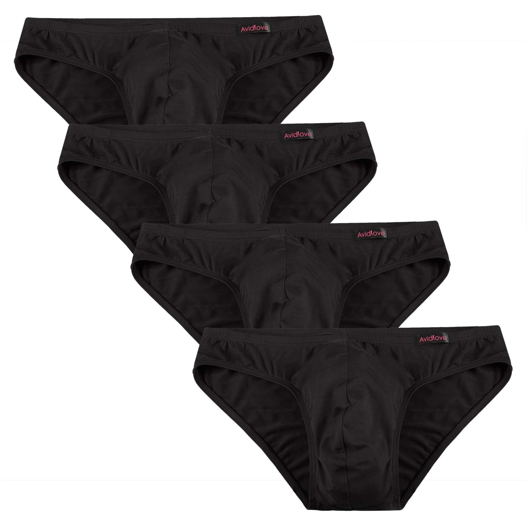 Avidlove Men Underwear Micromodal Bikinis 4 Pack Briefs Black  Medium