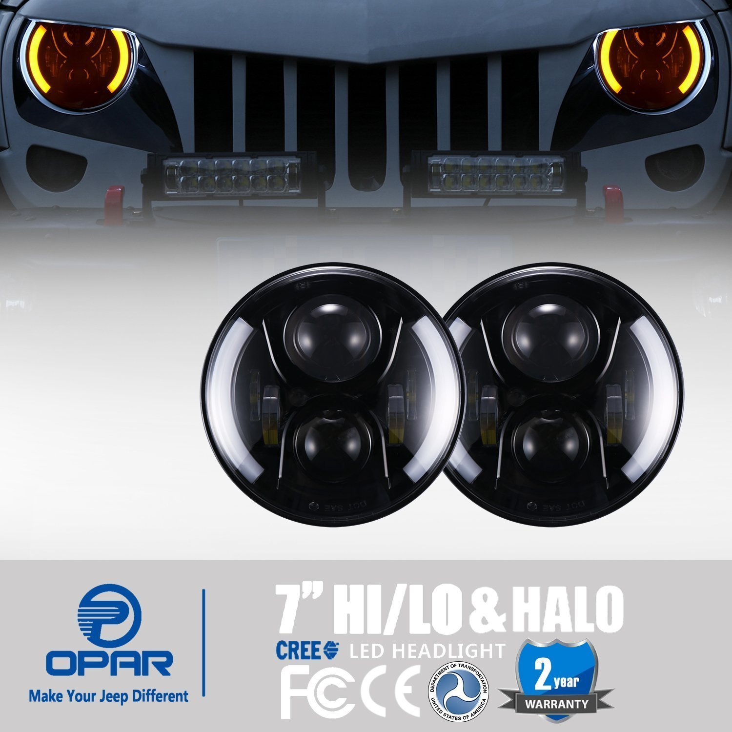 Opar 7 Inch Led Headlights W Drl Halo Angel Eyes Turn Cree Headlamps Wiring Diagram Signal For 97 18 Jeep Wrangler Jk Tj Unlimited Automotive