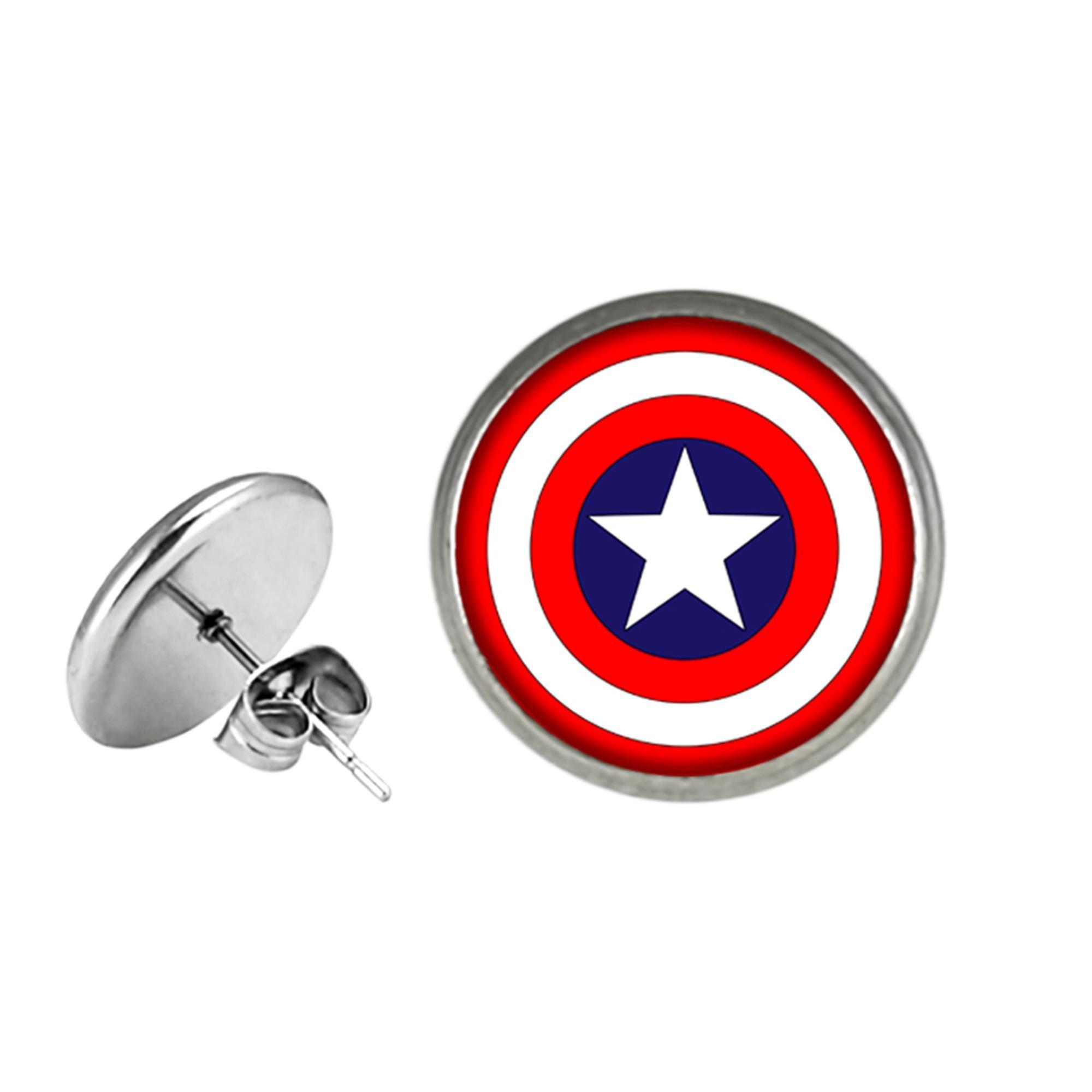 Captain America Shield Post Stud Premium Quality Silvertone Earrings