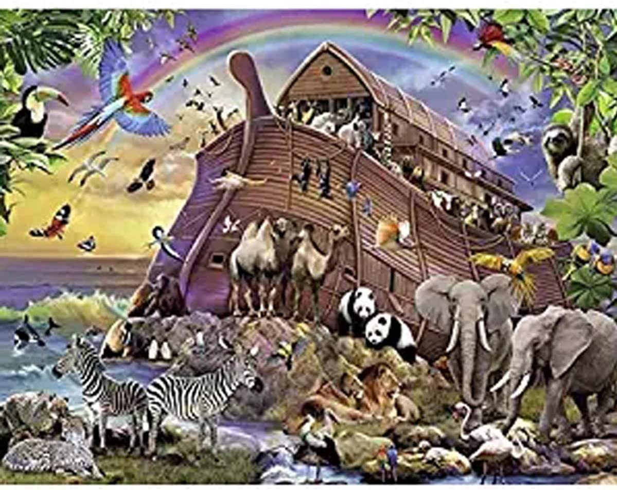 Leezeshaw 5D DIY Diamond Painting by Number Kits Fameless Rhinestone Embroidery Paintings Pictures for Home Decor - Noah's Ark 60x50cm