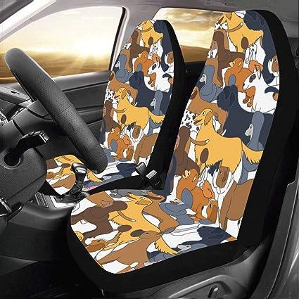 Wondrous Amazon Com Artsadd Cartoon Dogs Fabric Car Seat Covers Set Forskolin Free Trial Chair Design Images Forskolin Free Trialorg