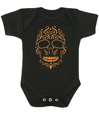 d5f9703f0 Babyprem Baby Bodysuit Halloween Clothes Orange Black White Skull ...