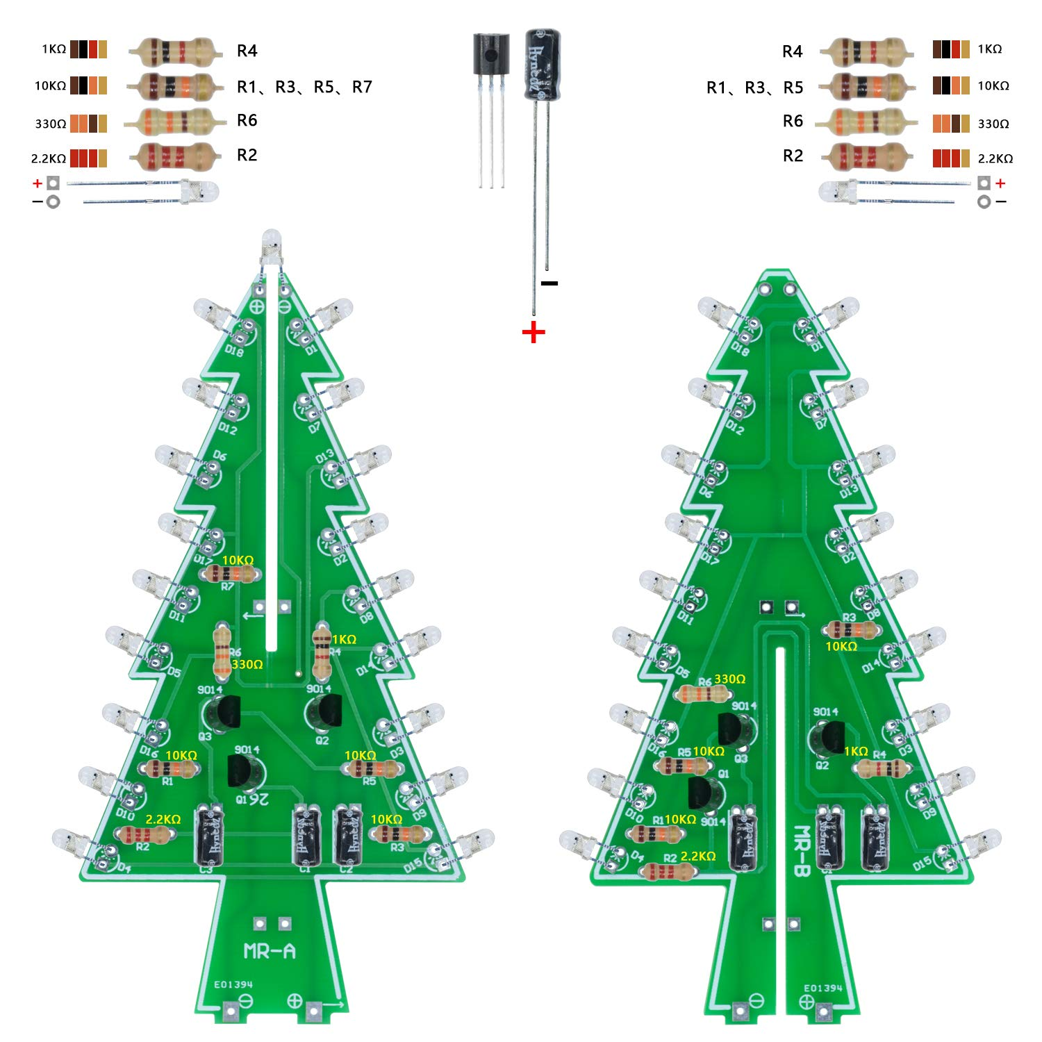 Amazon Aideepen 3D Christmas Tree LED Flashing Light DIY Kit 7