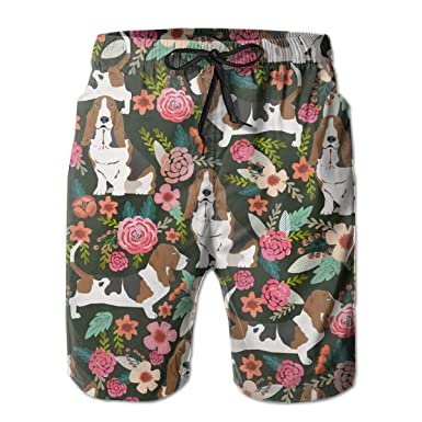 ffd88240d5882 Amazon.com: Boys Board Shorts Crazy Basset Hound Floral Quick Dry ...