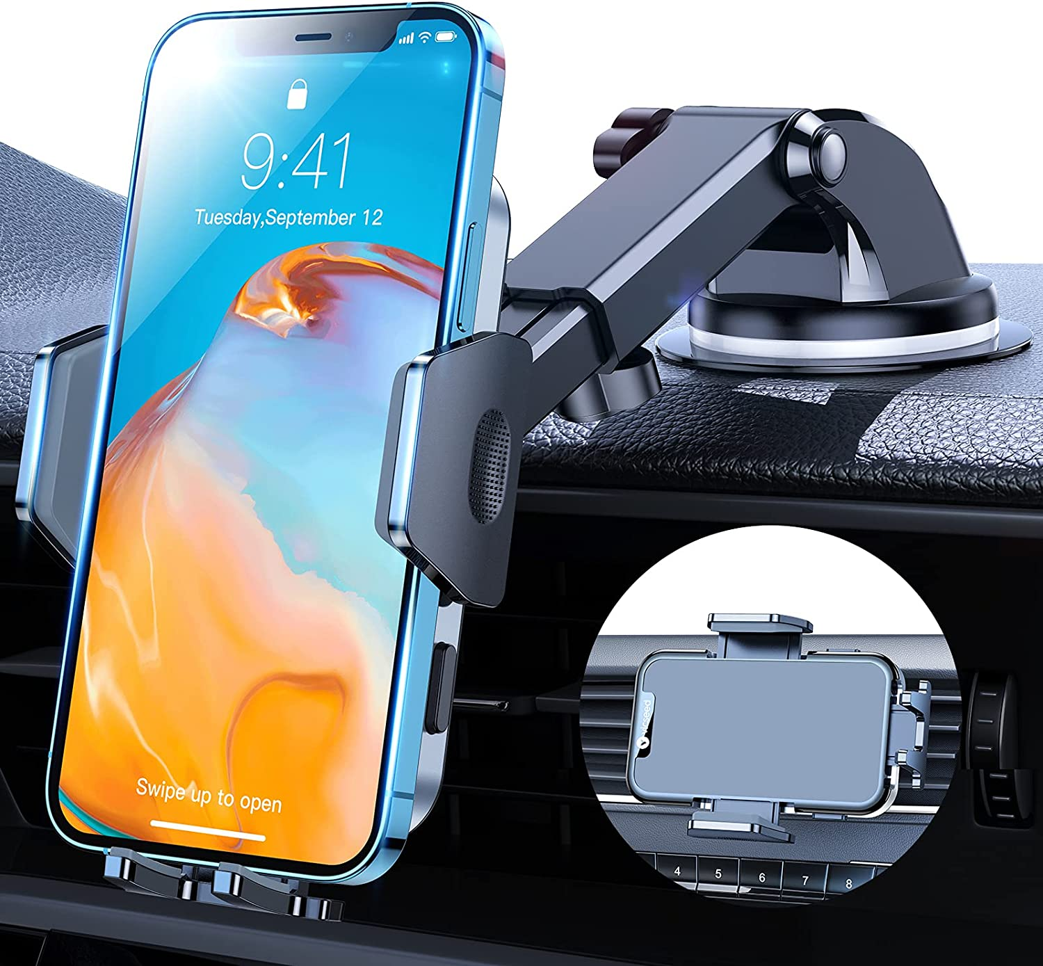VICSEED Car Phone Holder Mount[ Super Powerful Suction Cup ] Hands Free Cell Phone Holder for Cars Rotatable Universal Dashboard Windshield Air Vent Vehicle Phone Mounts Compatible with All Phones
