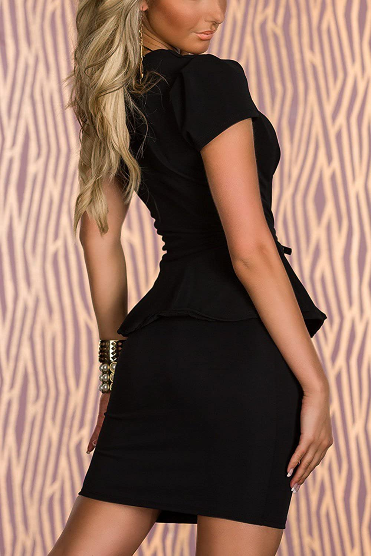 Women Hot Short Sleeve Ruffle Nightclub Party Tight Mini Dress