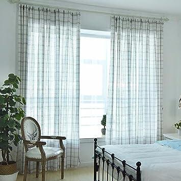 Vorhange Einfaches Nordic Kaffee Gitter Vorhang Gaze Wohnzimmer