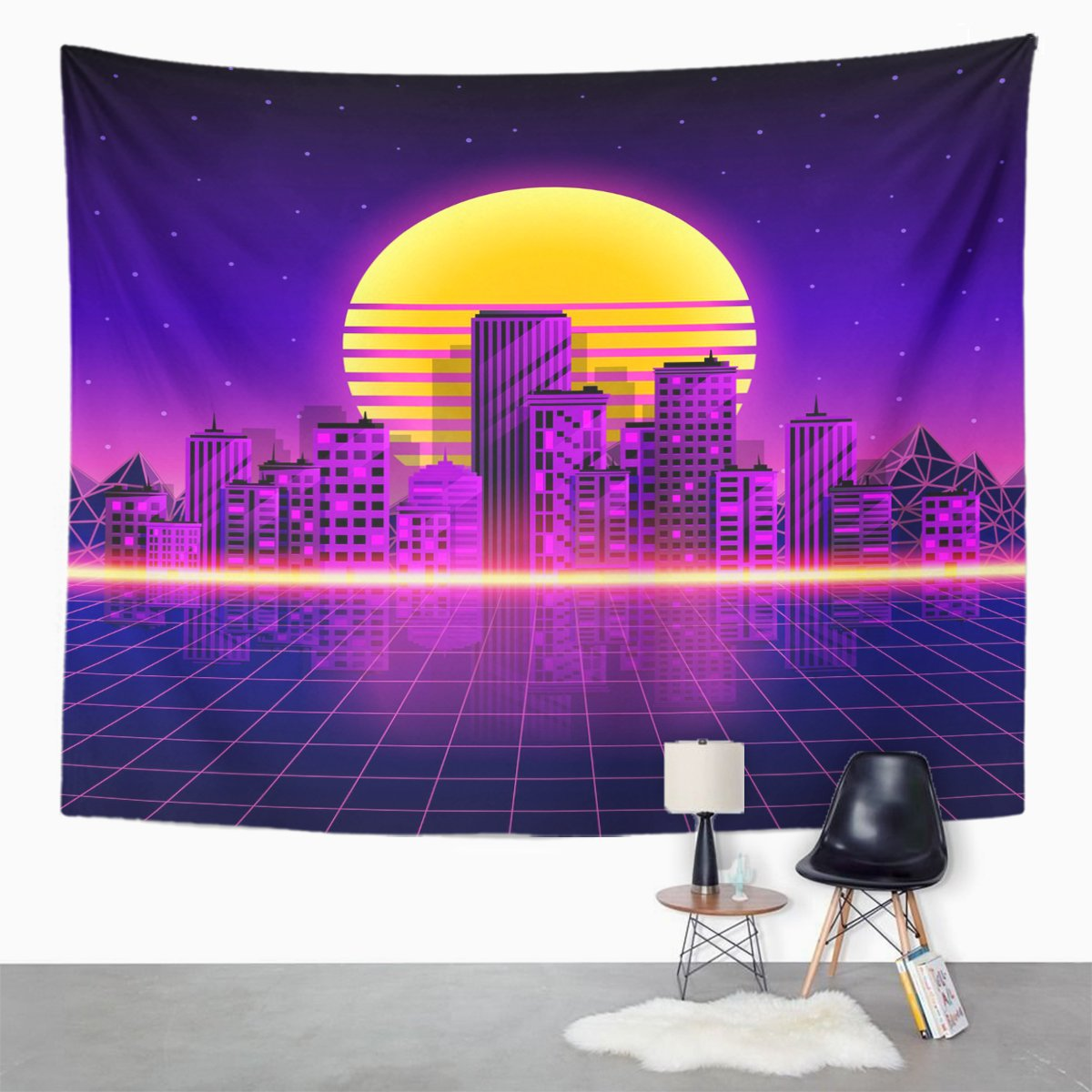 Amazon.com: Emvency Tapestry Pink Grid Retro Neon City Style 80u0027S Purple  Landscape Night Home Decor Wall Hanging For Living Room Bedroom Dorm 60x80  Inches: ...