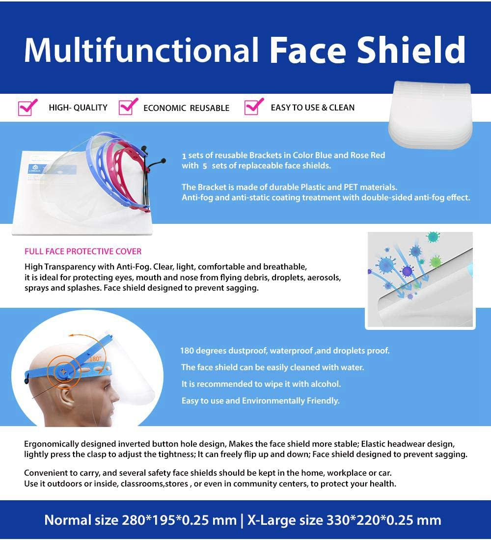 Lot de 10 Visi/ère de Protection Anti-bu/ée Pour Personnes Avec Lunettes Face Shield Certifi/ées