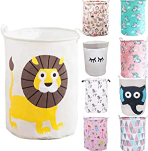Unibedding Toy Storage Organizer, Canvas Laundry Basket Hamper Foldable with Waterproof PE Coating Large Storage Bins for Kids Boys and Girls, Office, Bedroom, Clothes,Toys (Lion)