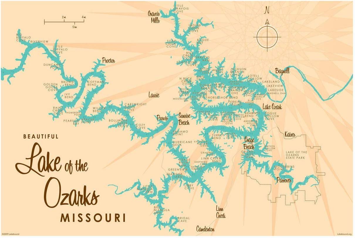 Hiker Gift Ozark map Missouri Map Lake Map Lake Prints lake life Missouri State lake art Lake Gift Ozarks lake of the ozarks Map
