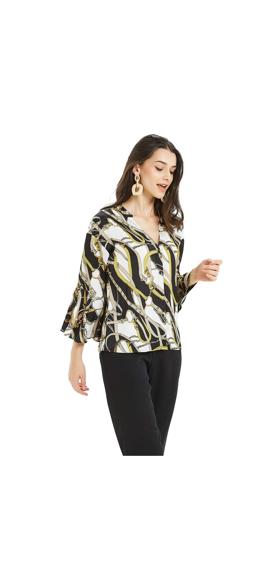 Women's V Neck Bell Sleeve Button Down Shirts