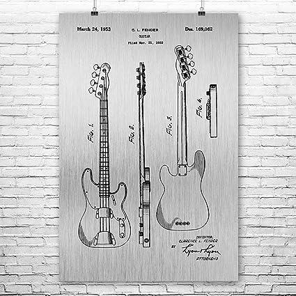 Fender Bass Guitar Poster Art Print Wall Player Gift Guitarist